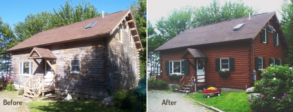 Before and After Log Home Restoration in Sullivan, ME