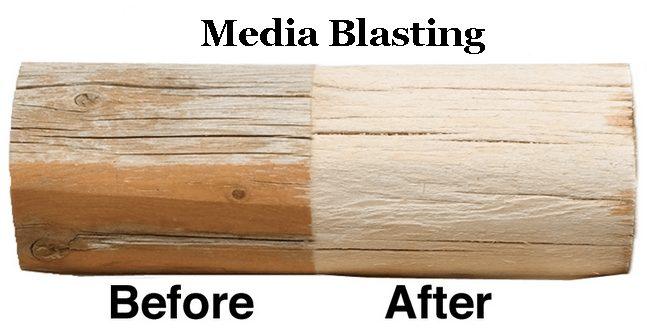 Log Before and After Media Blasting | Log Home Restoration in Sullivan, ME