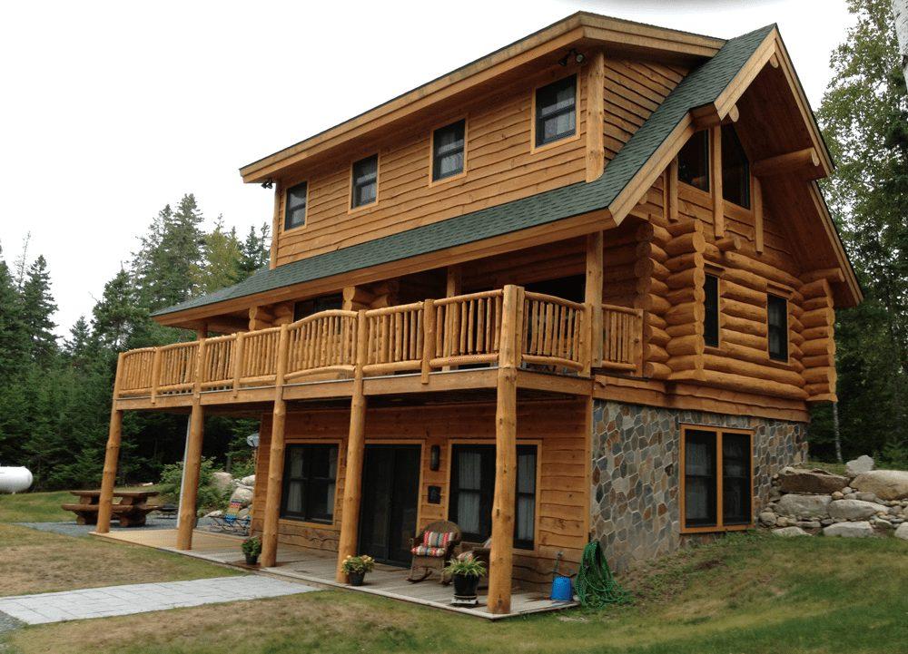 Handcrafted Log Home   Real Estate in Sullivan, ME